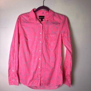 Vibrant pink J. Crew button down shirt